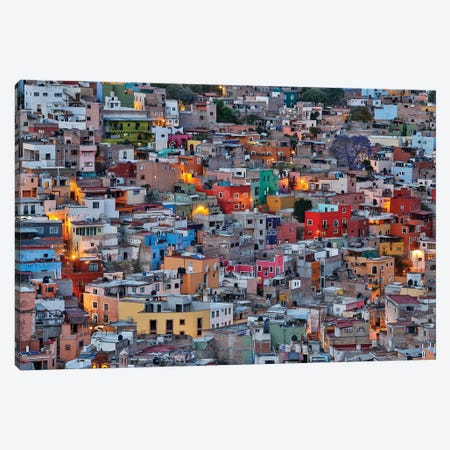 Guanajuato in Central Mexico. City overview in evening light with colorful buildings Canvas Print #DGU76} by Darrell Gulin Canvas Print