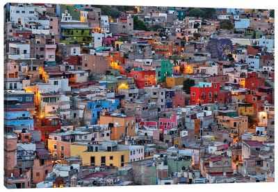 Guanajuato in Central Mexico. City overview in evening light with colorful buildings Canvas Art Print