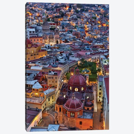 Guanajuato in Central Mexico. City overview in evening light with colorful buildings Canvas Print #DGU77} by Darrell Gulin Art Print