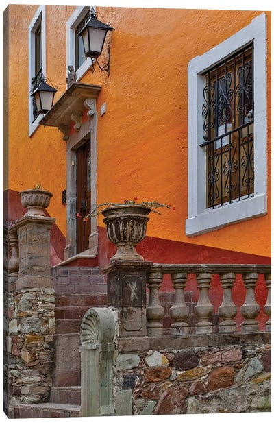 Guanajuato in Central Mexico. Old colonial architecture and stairways Canvas Art Print