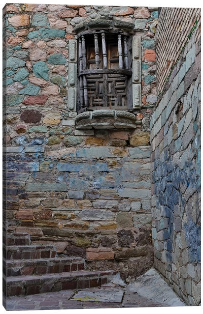 Guanajuato in Central Mexico. Small alley with stairs Canvas Art Print