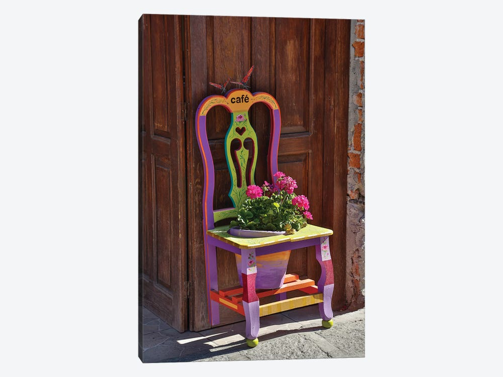 San Miguel De Allende, Mexico. Colorful painted chair planter by Darrell Gulin 1-piece Art Print