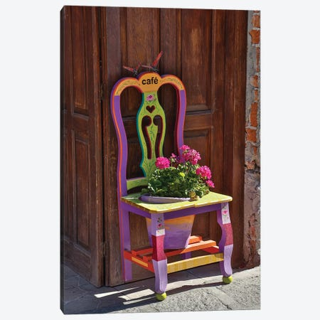 San Miguel De Allende, Mexico. Colorful painted chair planter Canvas Print #DGU96} by Darrell Gulin Canvas Print