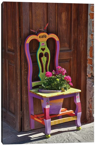 San Miguel De Allende, Mexico. Colorful painted chair planter Canvas Art Print