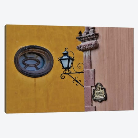 San Miguel De Allende, Mexico. Lantern and shadow on colorful buildings Canvas Print #DGU98} by Darrell Gulin Canvas Art
