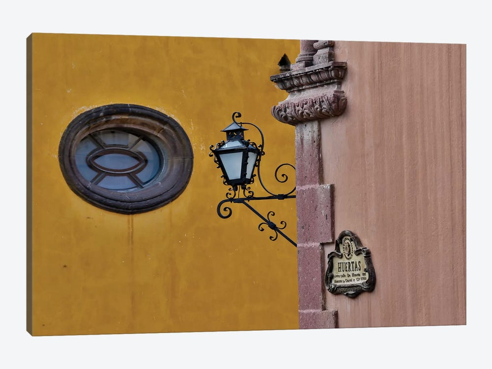 San Miguel De Allende, Mexico. Lantern and shadow on colorful buildings by Darrell Gulin 1-piece Canvas Print
