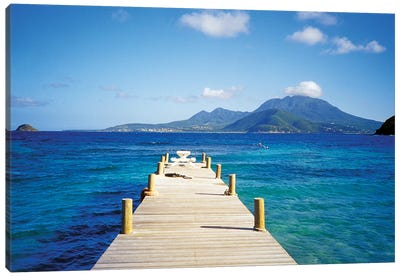 View Of Booby Island And Nevis As Seen From The Pier At Turtle Beach, Saint Kitts Canvas Art Print