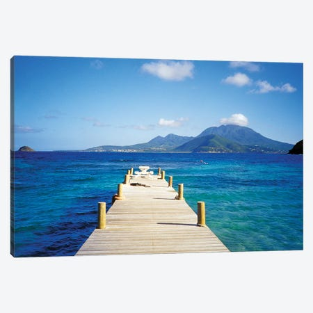 View Of Booby Island And Nevis As Seen From The Pier At Turtle Beach, Saint Kitts Canvas Print #DHE1} by David Herbig Art Print
