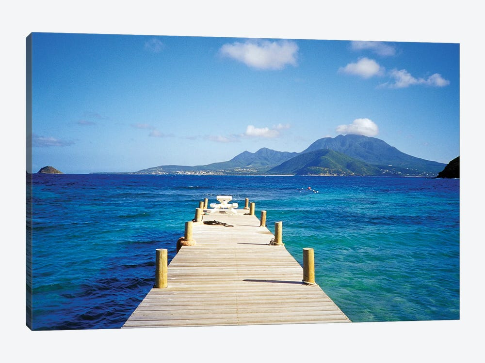 View Of Booby Island And Nevis As Seen From The Pier At Turtle Beach, Saint Kitts by David Herbig 1-piece Canvas Wall Art