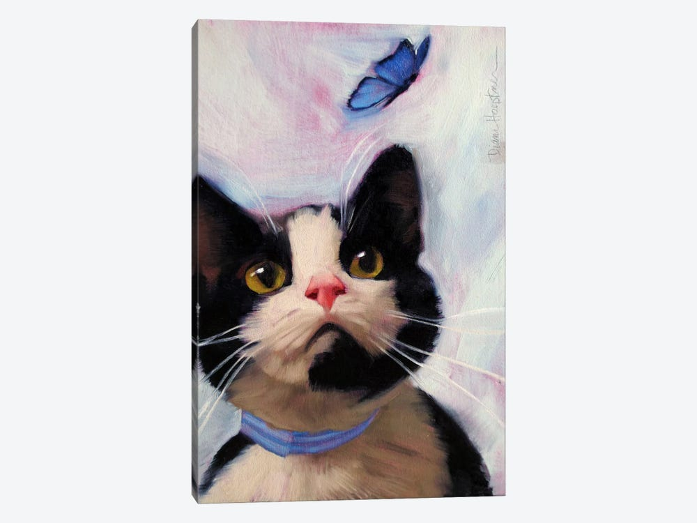 Cat And Butterfly by Diane Hoeptner 1-piece Canvas Artwork