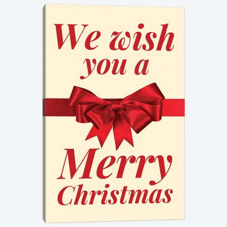 Christmas Bow - We Wish You A Merry Christmas In Cream Canvas Print #DHV100} by Design Harvest Canvas Art