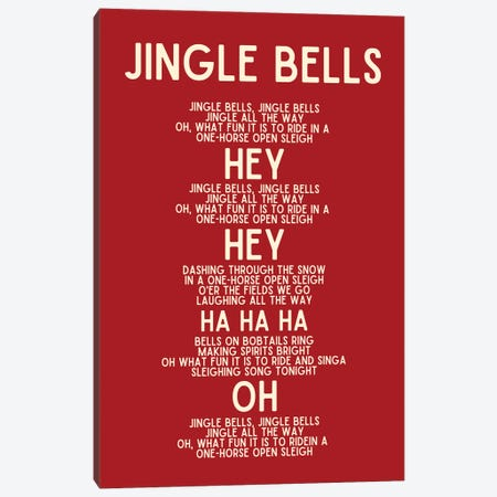 Jingle Bells Christmas Lyrics In Red Canvas Print #DHV105} by Design Harvest Art Print