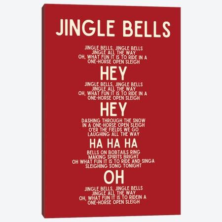 Jingle Bells Christmas Lyrics In Red Canvas Print #DHV105} by Design Harvest Art Print