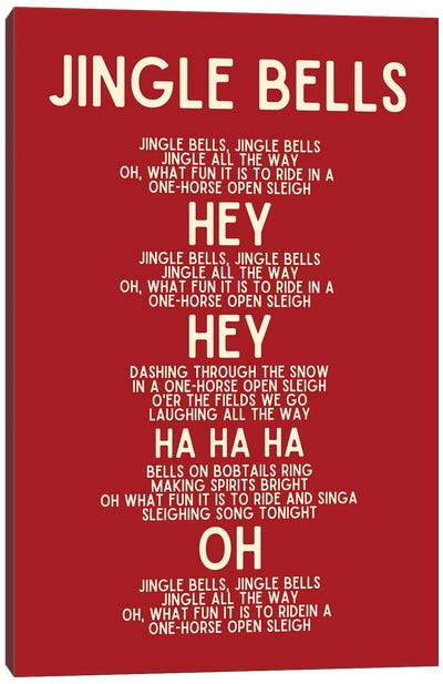 Jingle Bells Christmas Lyrics In Red Canvas Art Print