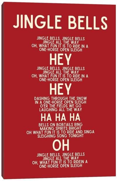 Jingle Bells Christmas Lyrics In Red Canvas Art Print