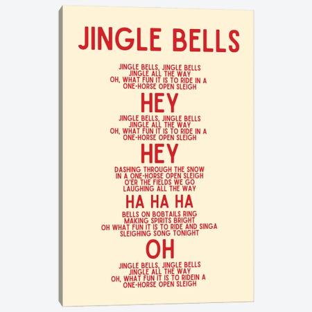 Jingle Bells Christmas Lyrics In Cream Canvas Print #DHV106} by Design Harvest Art Print
