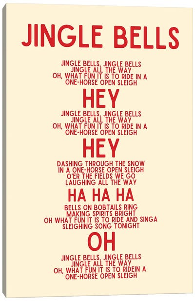 Jingle Bells Christmas Lyrics In Cream Canvas Art Print