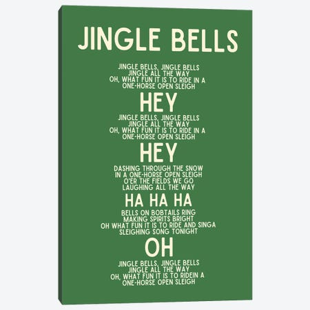 Jingle Bells Christmas Lyrics In Green Canvas Print #DHV107} by Design Harvest Canvas Print