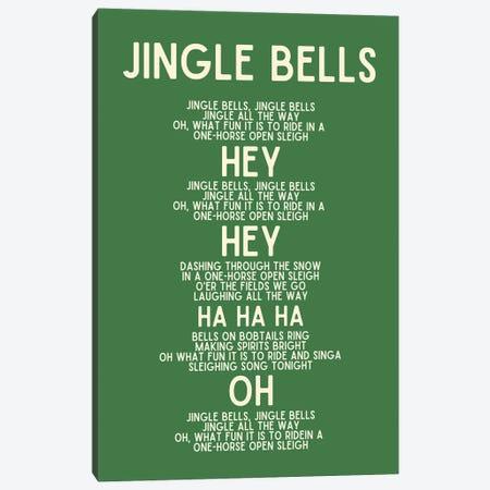 Jingle Bells Christmas Lyrics In Green Canvas Print #DHV107} by Design Harvest Canvas Print