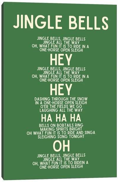 Jingle Bells Christmas Lyrics In Green Canvas Art Print
