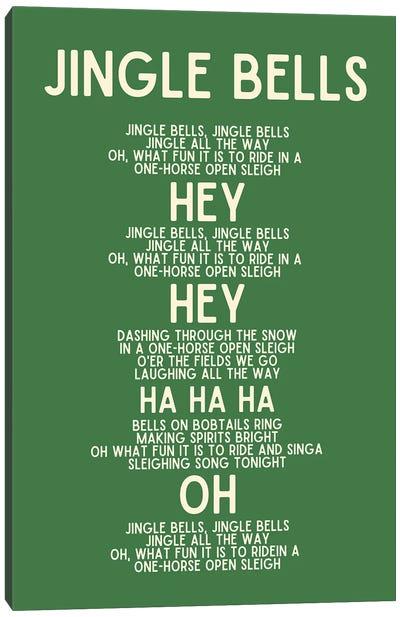 Jingle Bells Christmas Lyrics In Green Canvas Art Print