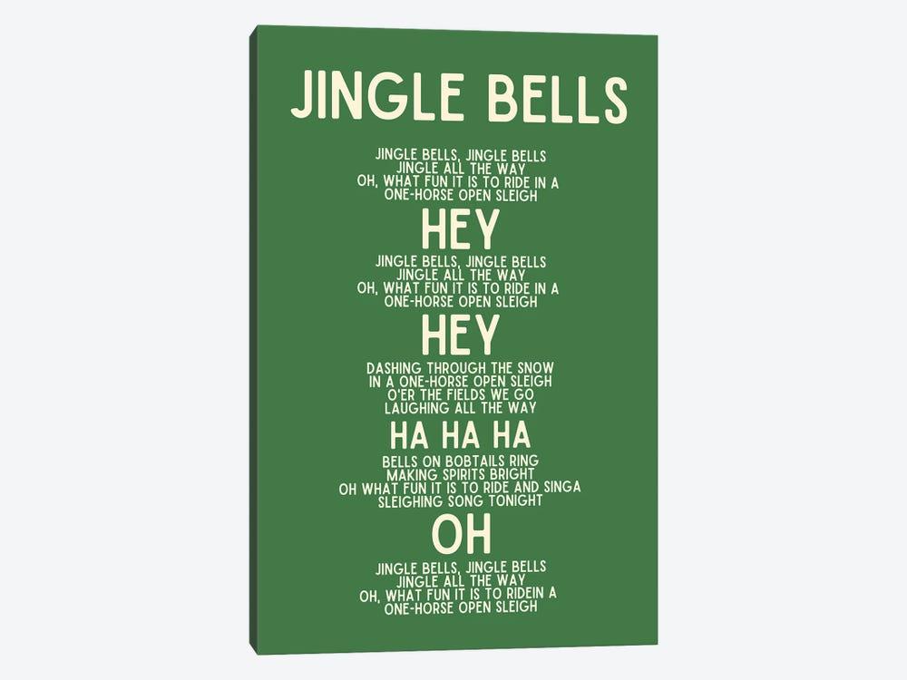 Jingle Bells Christmas Lyrics In Green by Design Harvest 1-piece Canvas Art Print