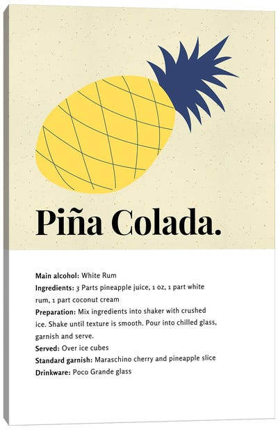 Pina Colada Cocktail Art - Recipe With Organic Abstract Pineapple Design Canvas Art Print