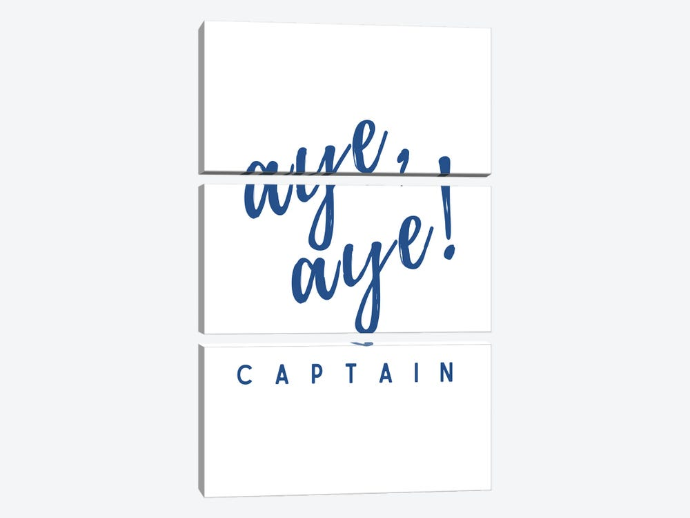 Nautical And Navy Aye Aye Captain! by Design Harvest 3-piece Canvas Art