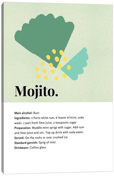 Mojito Cocktail Bar Art - Recipe With Organic Abstract Mint Leaf Design Canvas Art Print