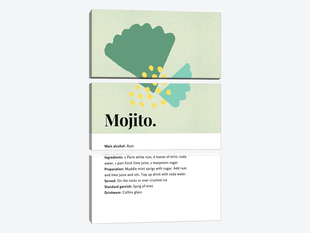 Mojito Cocktail Bar Art - Recipe With Organic Abstract Mint Leaf Design by Design Harvest 3-piece Art Print