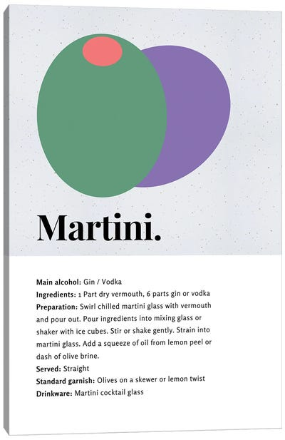 Martini Cocktail Bar Art - Recipe With Organic Abstract Olive Design Canvas Art Print