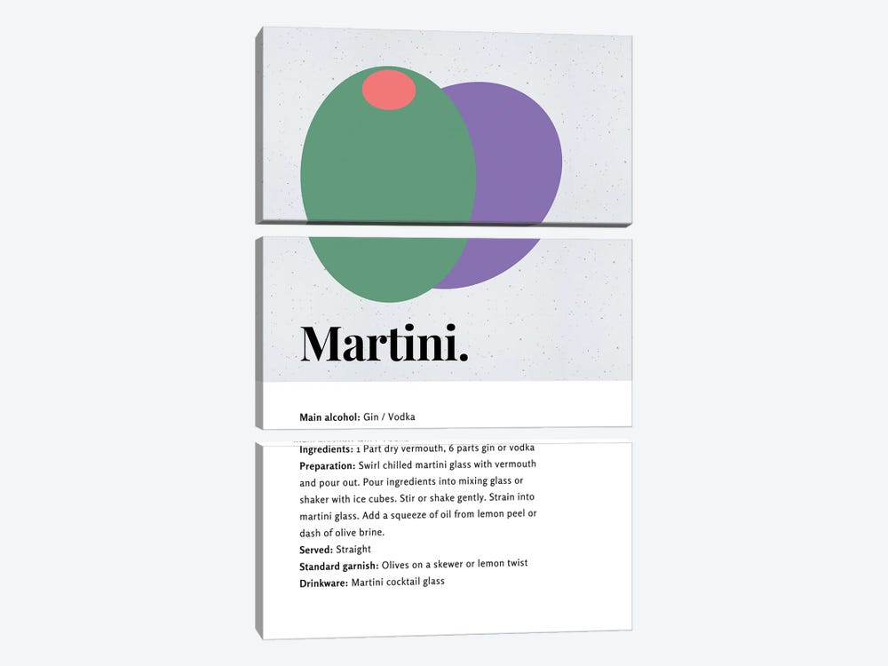 Martini Cocktail Bar Art - Recipe With Organic Abstract Olive Design by Design Harvest 3-piece Canvas Art