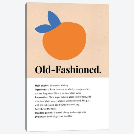 Old-Fashioned Cocktail Bar Art - Recipe With Organic Abstract Orange Design Canvas Print #DHV112} by Design Harvest Canvas Print