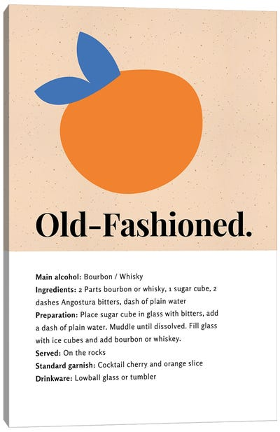Old-Fashioned Cocktail Bar Art - Recipe With Organic Abstract Orange Design Canvas Art Print