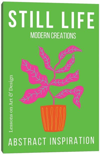 Still Life Abstract Botanicals On Green Background Canvas Art Print
