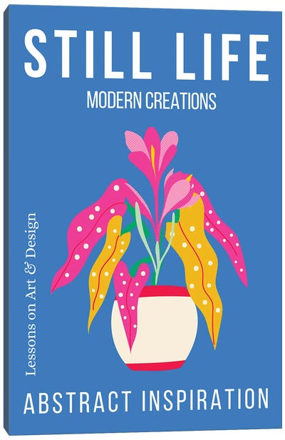 Still Life Abstract Plant On Blue Background Canvas Art Print