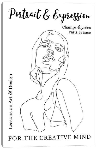 Portrait Line Art Model In Paris, France Canvas Art Print
