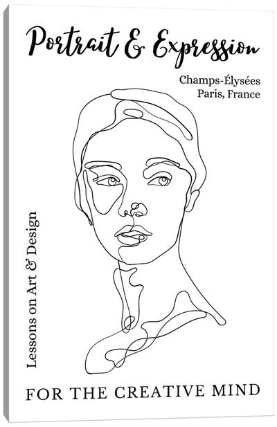 Portrait Line Art Face In Paris, France Canvas Art Print