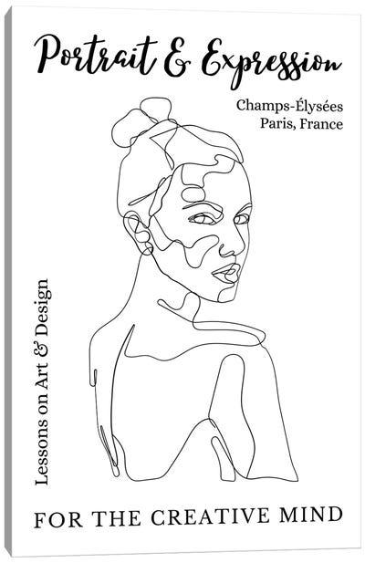 Portrait Line Art Over The Shoulder In Paris, France Canvas Art Print