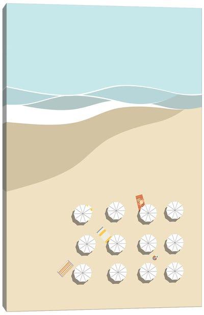 Umbrellas By The Sea Canvas Art Print