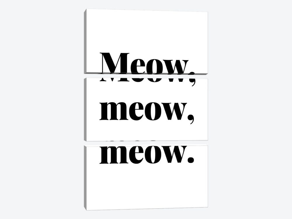 Meow Meow Meow Cat Quote by Design Harvest 3-piece Canvas Print