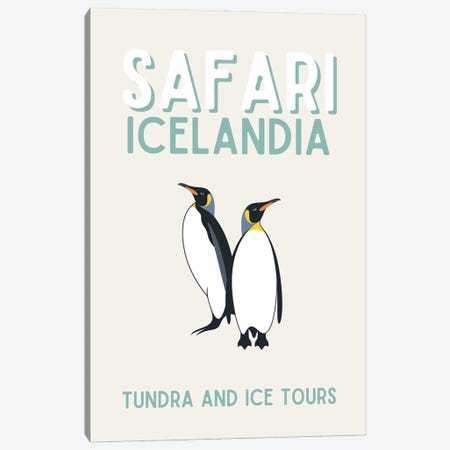 Safari Series - Vintage Iceland Travel With Penguins Canvas Print #DHV198} by Design Harvest Art Print