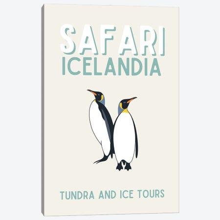 Safari Series - Vintage Iceland Travel With Penguins Canvas Print #DHV198} by Design Harvest Art Print