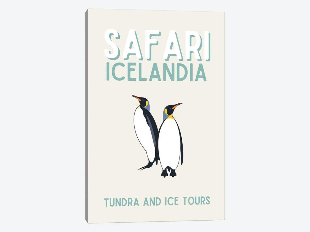 Safari Series - Vintage Iceland Travel With Penguins by Design Harvest 1-piece Canvas Art Print
