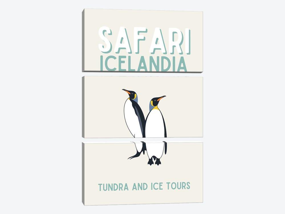 Safari Series - Vintage Iceland Travel With Penguins by Design Harvest 3-piece Canvas Art Print