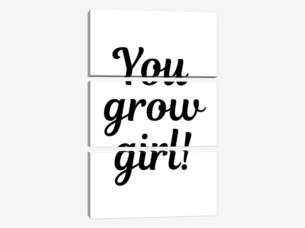 You Grow Girl Plant Quote by Design Harvest 3-piece Canvas Art Print