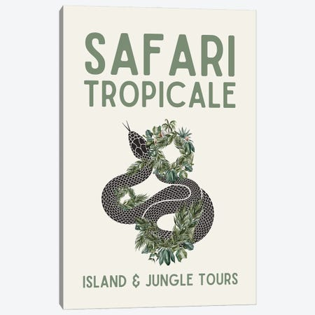 Safari Series - Vintage Tropical Travel With Snake Canvas Print #DHV200} by Design Harvest Canvas Print