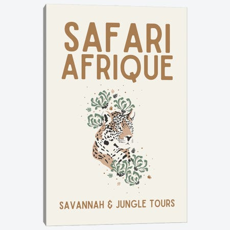 Safari Series - Vintage African Travel With Leopard Canvas Print #DHV201} by Design Harvest Canvas Print