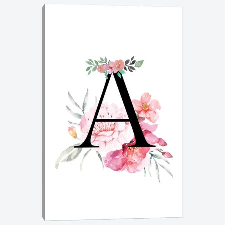 'A' Initial Monogram With Watercolor Flowers Canvas Print #DHV215} by Design Harvest Canvas Print