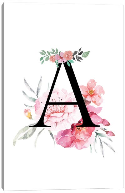 'A' Initial Monogram With Watercolor Flowers Canvas Art Print